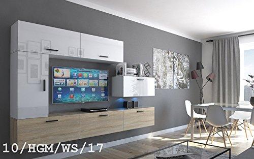 FUTURE 10 Wohnwand Anbauwand Wand Schrank TV-Schrank Wohnzimmer Wohnzimmerschrank Hochglanz Matt Weiß Schwarz Sonoma LED RGB Beleuchtung (10/HGM/WS/17, LED blau)