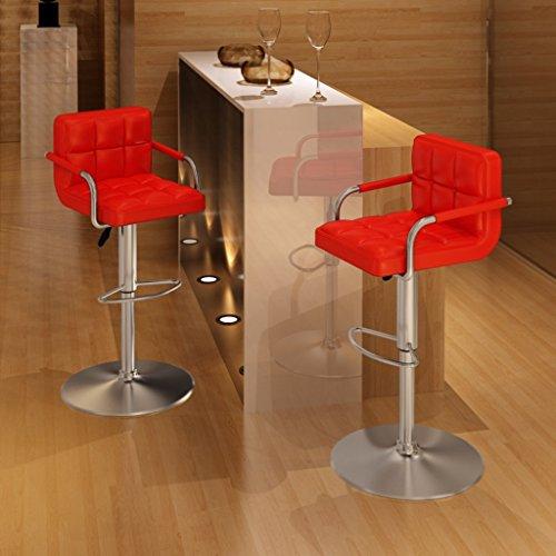 vidaXL 2 x Barhocker mit Armlehne Sessel Drehstuhl Bar Hocker Barstühle rot 240464