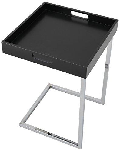 Invicta Interior Ciano Design Beistelltisch Tablett-Tisch schwarz chrom 40 x 40 cm