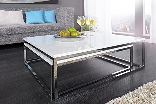 Design Couchtisch 2er Set BIG FUSION hochglanz weiss chrom Tische Beistelltische