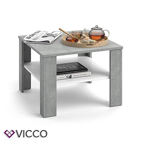 VICCO Couchtisch HOMER 60x60 - Wohnzimmer Sofatisch Kaffeetisch 3 Farbvarianten +++ Beistelltisch - mit Ablagefach - Top Design +++ (beton weiß)