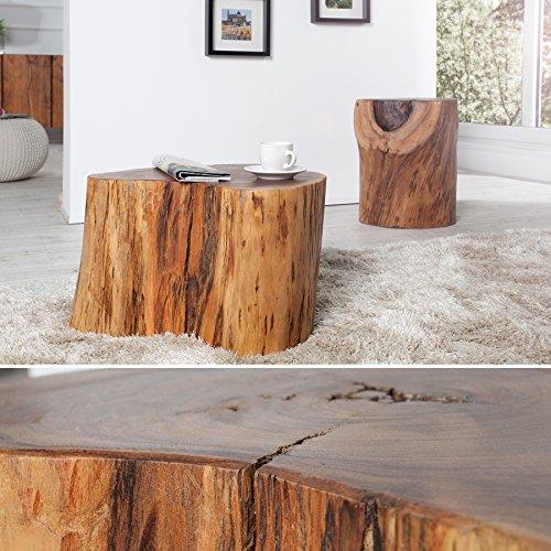 Massiver Hocker GOA Baumstamm Beistelltisch aus Akazie 30 cm Sitzhocker Tisch