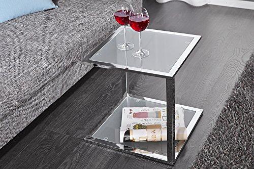 Invicta Interior Cubetto Funktionaler Beistelltisch frosted Glas chrom 40 cm