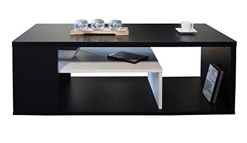 Berlioz Creations Melinga Couchtisch Holz Schwarz und Weiß 111x 50,5x 41cm