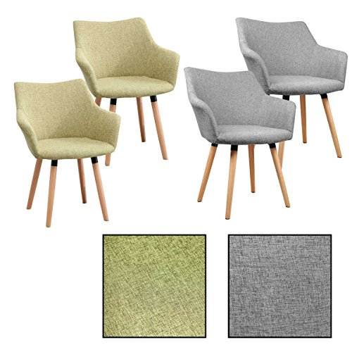 2/4/6/8x Retro - Esszimmerstuhl Tomke, Stühle, Stuhl, Küchenstuhl, Esszimmerstühle, Grau, Grün