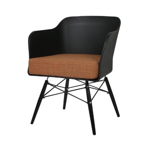 BUTIK Design Esszimmerstuhl Cooper (2er Set) - Maße 77x61x49 cm - braunes Sitzkissen aus hochwertiger Baumwolle