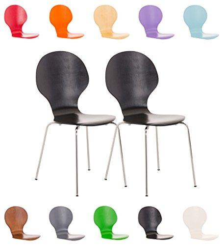 CLP 2x Stapel-Stuhl DIEGO, Holzsitz, ergonomisch geformt, Sitzfläche, robust, pflegeleicht, bis zu 12 Farben wählbar