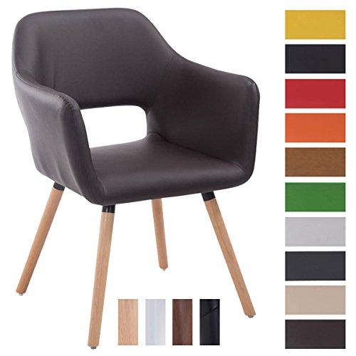 CLP Besucher-Stuhl AUCKLAND mit Armlehne, max. Belastbarkeit 160 kg, Holz-Gestell, Kunstleder-Bezug, Sitzfläche gepolstert, mit Bodenschonern