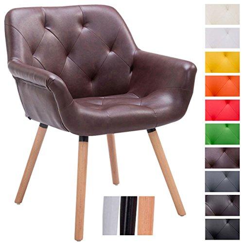 CLP Besucher-Stuhl CASSIDY, Kunstleder-Bezug, belastbar bis 150 kg, Retro-Stuhl mit Armlehne, sesselförmiger Sitz, gepolstert, Sitzhöhe 45 cm