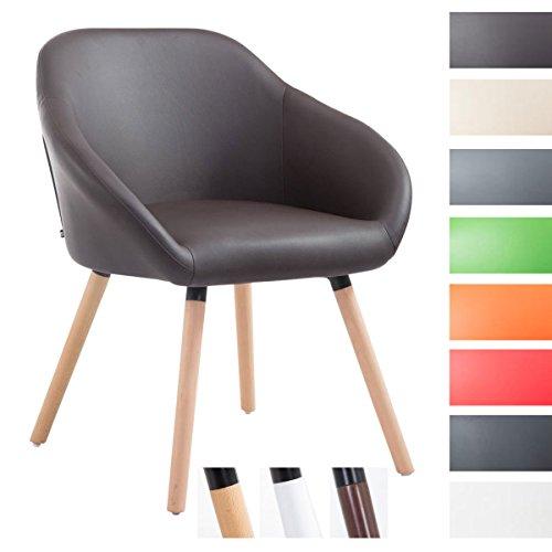 CLP Besucher-Stuhl HAMBURG mit Armlehne, max. Belastbarkeit 150 kg, Holz-Gestell, Kunstleder-Bezug, Sitzfläche gepolstert, mit Bodenschonern,