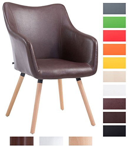 CLP Design Besucher-Stuhl MCCOY V2 mit Kunstlederbezug, max. Belastbarkeit 160 kg, Esszimmerstuhl mit Holzgestell, gepolstert