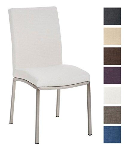 CLP Design Edelstahl Esszimmer-Stuhl GRENOBLE mit Stoffsitz, Sitzhöhe 48 cm