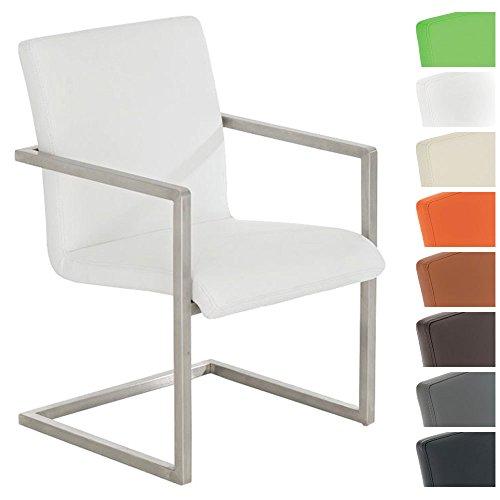 CLP Design Edelstahl Freischwinger-Stuhl JAVA V2, Besucherstuhl mit Armlehne, Konferenzstuhl gepolstert, Kunstleder-Bezug in verschiedenen Farben