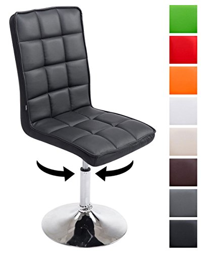 CLP Design Esszimmer-Stuhl PEKING V2 mit Kunstleder-Bezug, max. belastbar bis 135 kg, gepolstert, Sitz drehbar und höhenverstellbar 41 - 55 cm