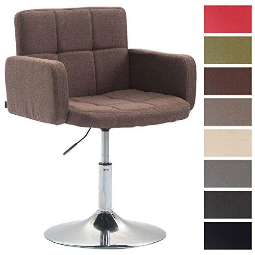 CLP Design Lounge Sessel LOS ANGELES mit Stoff-Bezug, Lounger drehbar / höhenverstellbar, Esszimmerstuhl mit Trompetenfuß in Chromoptik