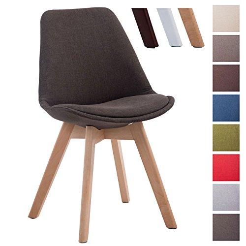 CLP Design Retro Stuhl BORNEO V2, Besucherstuhl mit Holz-Gestell, Küchenstuhl mit Stoff-Bezug