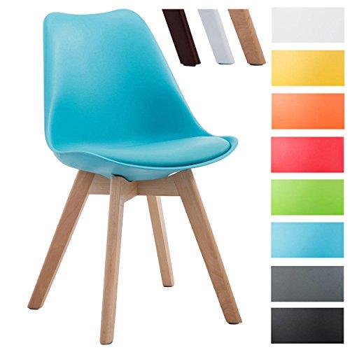 CLP Design Retro Stuhl BORNEO V2, Besucherstuhl mit Holzgestell, Materialmix aus Kunststoff und Kunstleder