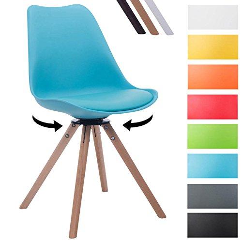 CLP Design Retro-Stuhl TROYES RUND, Kunststoff-Lehne, Kunstleder-Sitz, drehbar, gepolstert