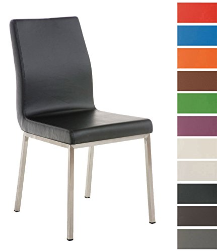 CLP Edelstahl Esszimmer-Stuhl COLMAR mit Kunstledersitz, modernes & schlichtes Design, Sitzhöhe 47 cm, bis zu 11 Farben wählbar