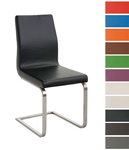 CLP Esszimmer-Stuhl BELFORT, Freischwinger-Stuhl mit Edelstahl-Gestell, Kunstleder-Sitz, bis zu 11 Farben