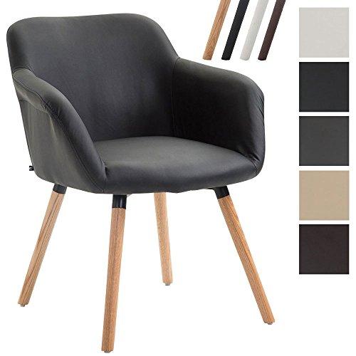 CLP Esszimmerstuhl DEBBIE mit Armlehne, Kunstlederbezug, Polsterstuhl aus Eichenholz, Besucherstuhl, max. Belastbarkeit 150 kg,