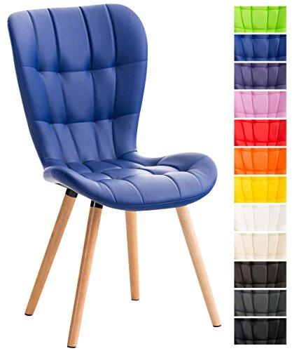 CLP Esszimmerstuhl ELDA mit Kunstlederbezug, Lehnstuhl mit Holzgestell, Polsterstuhl, Besucherstuhl mit stilvollen Ziernähten,