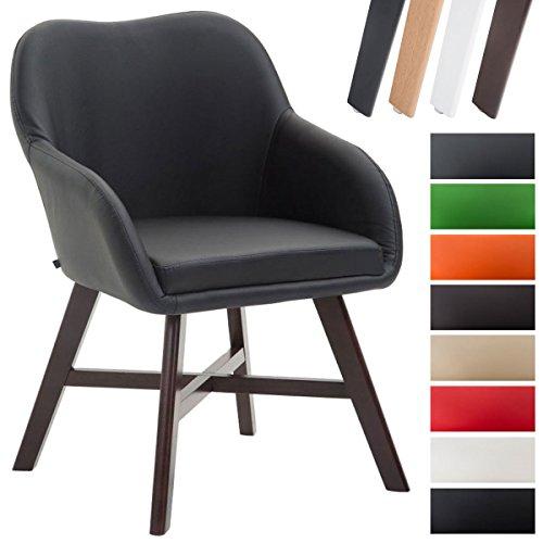CLP Esszimmerstuhl KEPLER mit Kunstlederbezug, Wartezimmerstuhl mit Armlehnen, Besucherstuhl mit Buchenholzgestell, Küchenstuhl,