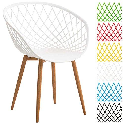 CLP Esszimmerstuhl MORA mit Kunststoff Sitzschale, Wartezimmerstuhl, Retrostuhl, Besucherstuhl mit Metallgestell in Holzoptik,