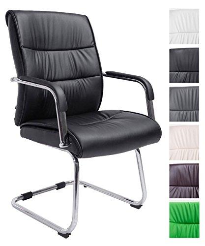 CLP Freischwinger-Stuhl mit Armlehne SIEVERT, Konferenz-Stuhl gepolstert, Besucherstuhl mit Kunstleder-Bezug,