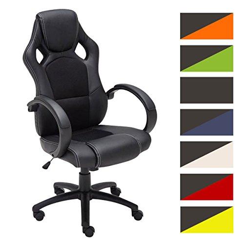 CLP Gaming Büro-Stuhl FIRE mit Armlehne, Kunstleder-Bezug, Schreibtischstuhl, höhenverstellbar, Sportsitz Racer Design, Wippfunktion