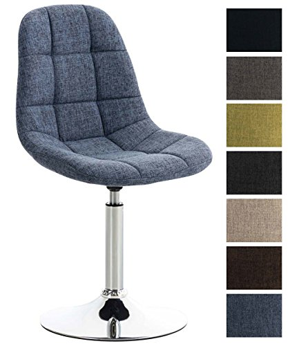 CLP Lounger EMIL mit Stoffbezug, Esszimmerstuhl mit gestepptem Sitz, Drehstuhl mit Trompetenfuß in Chromoptik,