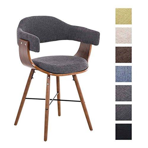 CLP Retro Esszimmer-Stuhl BARRIE V2 Stoff, Holzgestell walnuss, Gastro-Stuhl mit Armlehne, gepolstert, modern
