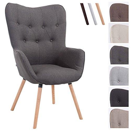 CLP Retro-Stuhl mit Armlehne AALBORG, Stoff-Bezug, Holz-Gestell Eiche, belastbar bis 160 kg, sesselförmiger Sitz, gepolstert, Sitzhöhe 49 cm