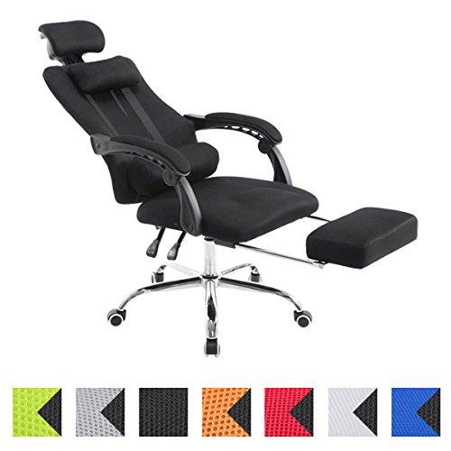 CLP Sportsitz Büro-Stuhl Relaxsessel FELLOW, belastbar 115 kg, Kopfstütze, Fußablage, höhenverstellbar 47 - 57 cm, Netzoptik Textilbezug