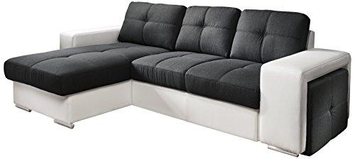 Cotta C209661 C310/H350 Polsterecke mit Schlaffunktion und Bettkasten, 157 x 278 cm, Kunstleder weiß mit Strukturstoff schwarz