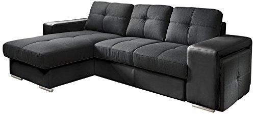 Cotta C209661 C310/H360 Polsterecke mit Schlaffunktion und Bettkasten, 157 x 278 cm, Kunstleder und Strukturstoff im schwarz