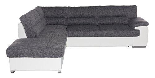 Cotta C783663 C121 D200 Lucky Polsterecke Stoff, grau / weiß, 232 x 279 x 93 cm