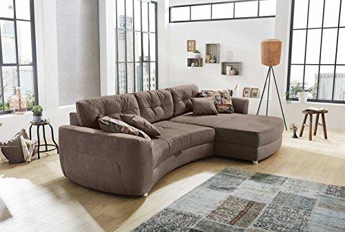 Ecksofa, Sofa, Sofaecke, Polsterecke, Eckcouch, Couch, Couchgarnitur, Polstergarnitur, Sofagarnitur, Gästebettfunktion, Ottomane, Bettkasten, braun