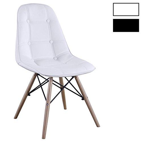 Esszimerstuhl Design Retro Stuhl Polsterstuhl 4er Set CESAR Lederimitat Buchenholz Farbauswahl