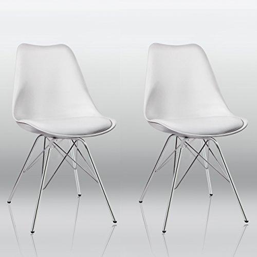 Esszimmerstuhl 2er Set in Weiß Küchenstuhl Kunststoff mit SItzkissen Stuhl Vintage Design Retro Duhome 0551