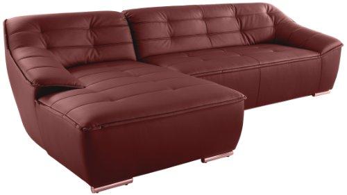 Polsterecke Bountano/Longchair-3er/297x83x159 cm/ Kunstleder Bison loud red