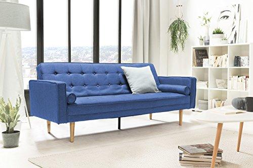 SalesFever® Designer Schlafsofa, Couch mit Schlaffunktion, Stoff, Holz Eiche, FSC® 100% zertifiziert