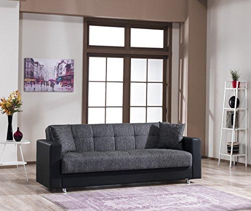 Schlafsofa | Kippsofa | Sofa mit Schlaffunktion | Klappsofa | Bettfunktion | mit Bettkasten | Bettcouch | Schlafcouch | Sofabett | Bettsofa | Dreisitzer | Grau | CAPRI