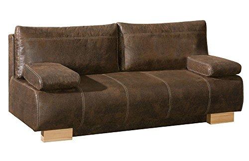 Schlafsofa | Querschläfer | Sofa mit Schlaffunktion | Bettfunktion | mit Bettkasten | Couch | Schlafcouch | Sofabett | Bettsofa | Dreisitzer | Braun | HANNO