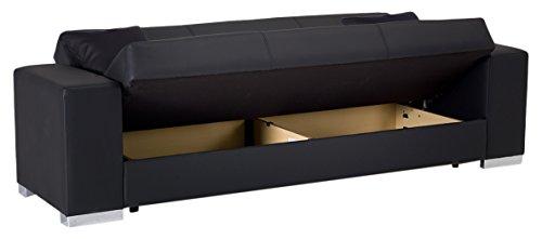 Sit-Store-Sleep 200KOBK0302000092 Möbel Schlafsofa Kobe, Kunstleder, schwarz, 197 x 110 x 42 cm