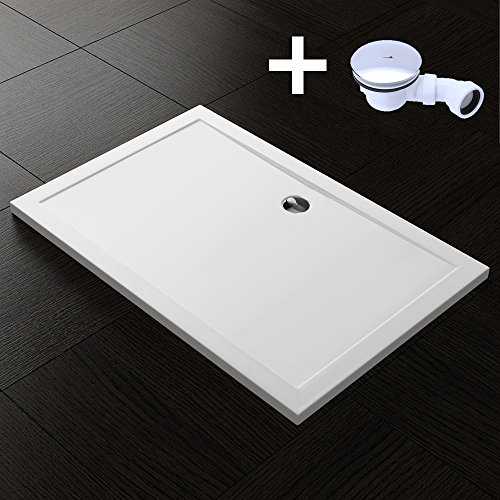 TBH: 90x140x4cm Design Duschtasse Faro2 in Weiß, inkl. Ablaufgarnitur AL02, Duschwanne, Acrylwanne