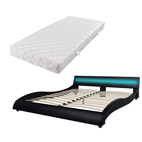 Festnight Bequeme Bett Kunstlederpolsterung Bettrahmen Polsterbett Doppelbett Ehebett mit LED-Streifen und 160x200cm Matratze - Schwarz