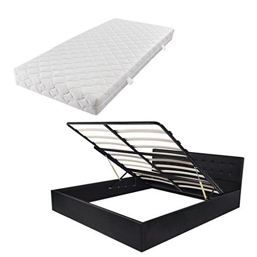 Festnight Bett Bettrahmen Polsterbett Doppelbett Bettgestell mit Gasfeder & 160x200 cm Matratze & Staufach - Schwarz