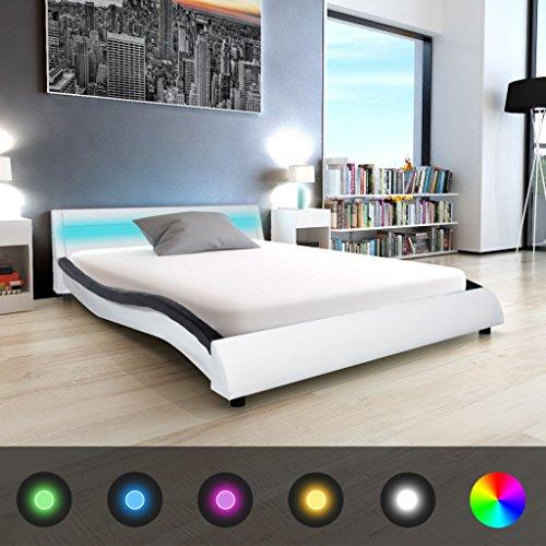 Festnight Bett Holzbett Kunstlederpolsterung Bettgestell Doppelbett Gästebett mit LED-Licht und 140x200 cm Memory-Matratze Schwarz/Weiß
