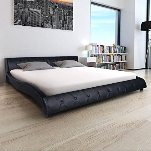 Festnight Bett Kunstlederbett Bettgestell Doppelbett Gästebett mit 140x200 cm Matratze Wellen-Design Schwarz